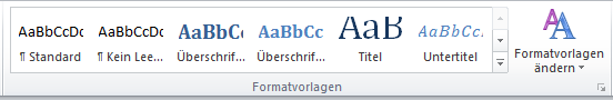 Screenshot Formatvorlagen