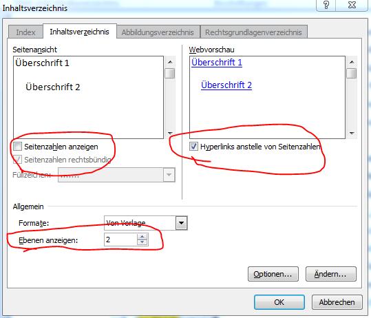 Screenshot Inhaltsverzeichnis