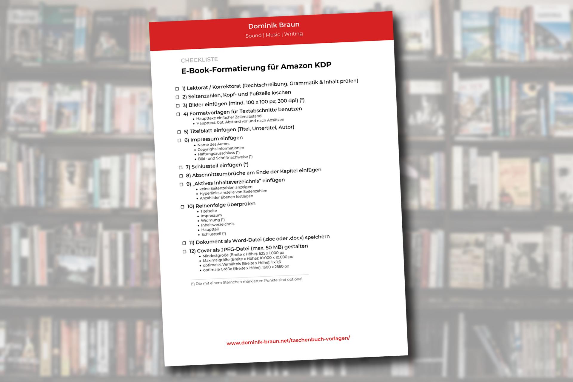 Checkliste E-Book-Formatierung Amazon KDP