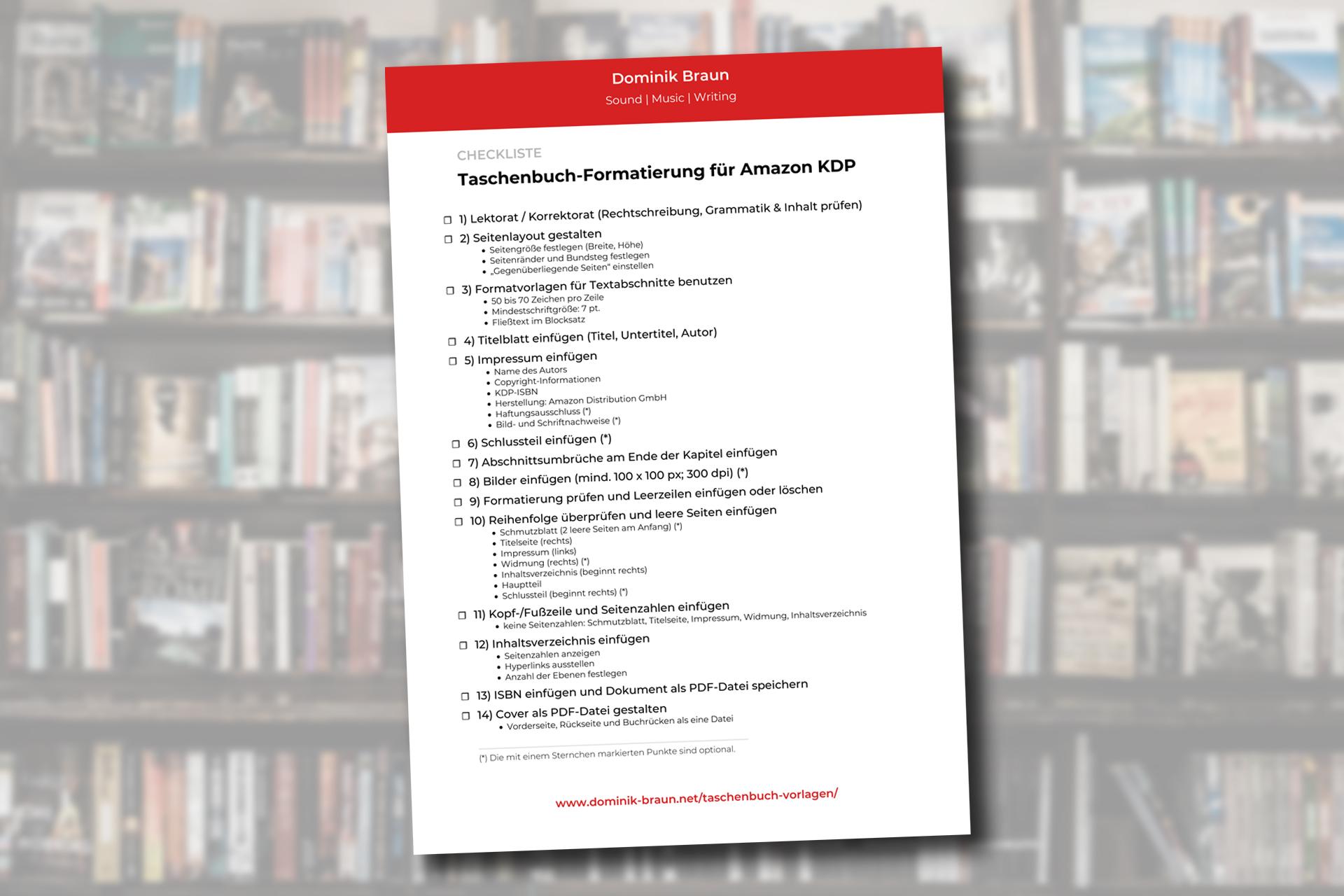 Checkliste Taschenbuch-Formatierung Amazon KDP