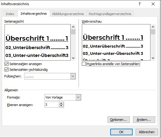 Screenshot Inhaltsverzeichnis Word