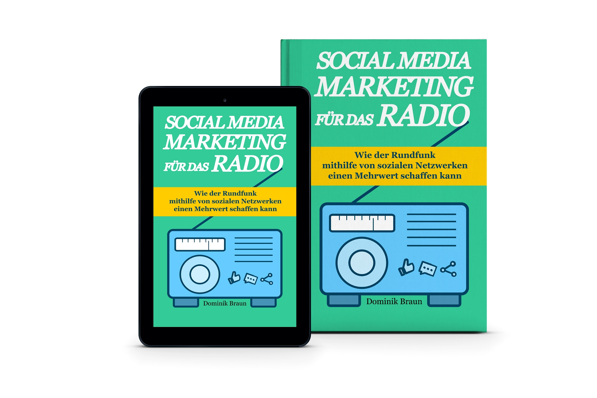 3D Buch Cover Social Media Marketing für das Radio