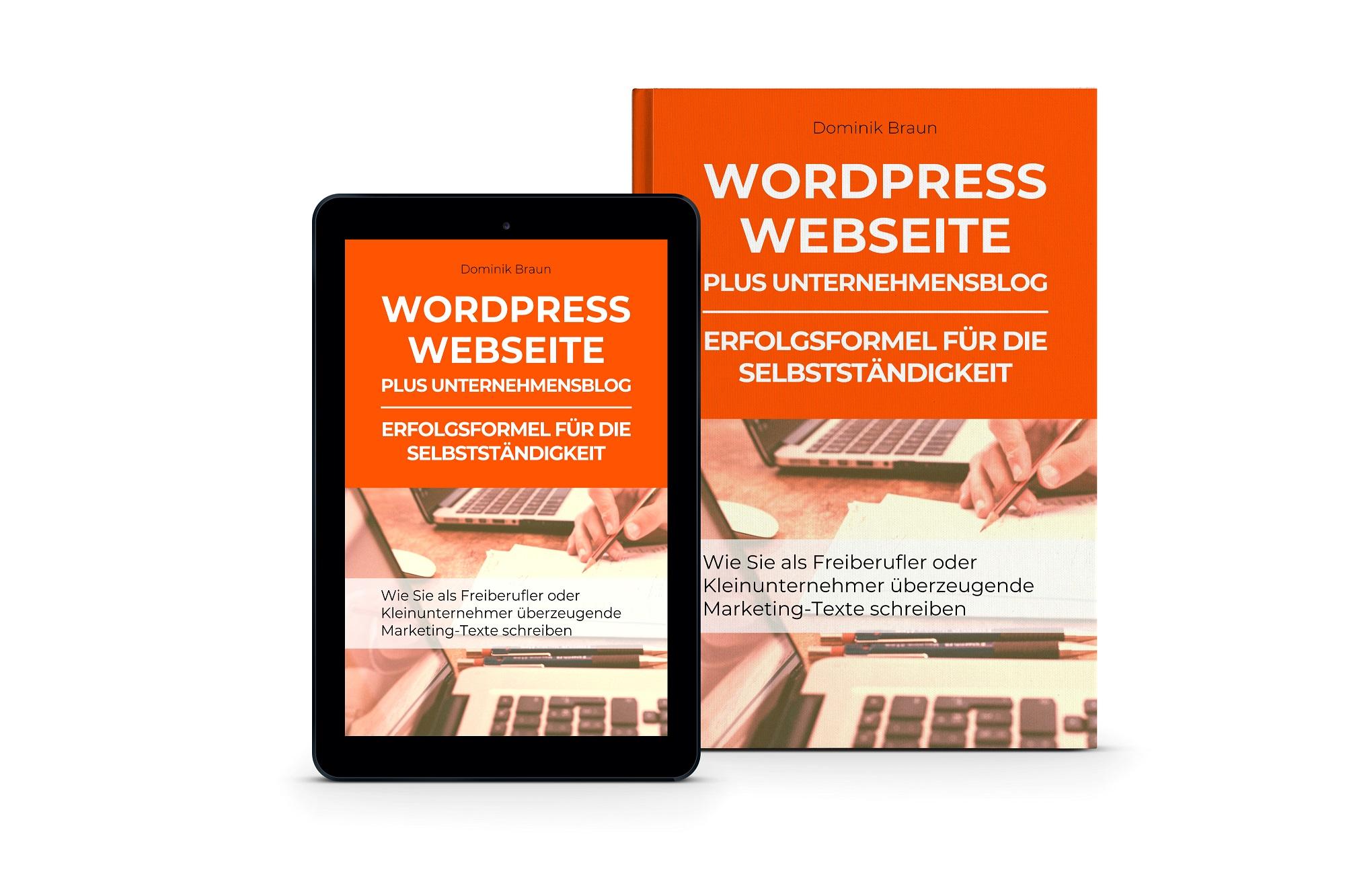 3D Buch Cover WordPress Webseite plus Unternehmensblog